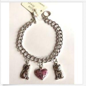 Silver Cat Lady Charm Bracelet MEOW Means LOVE
